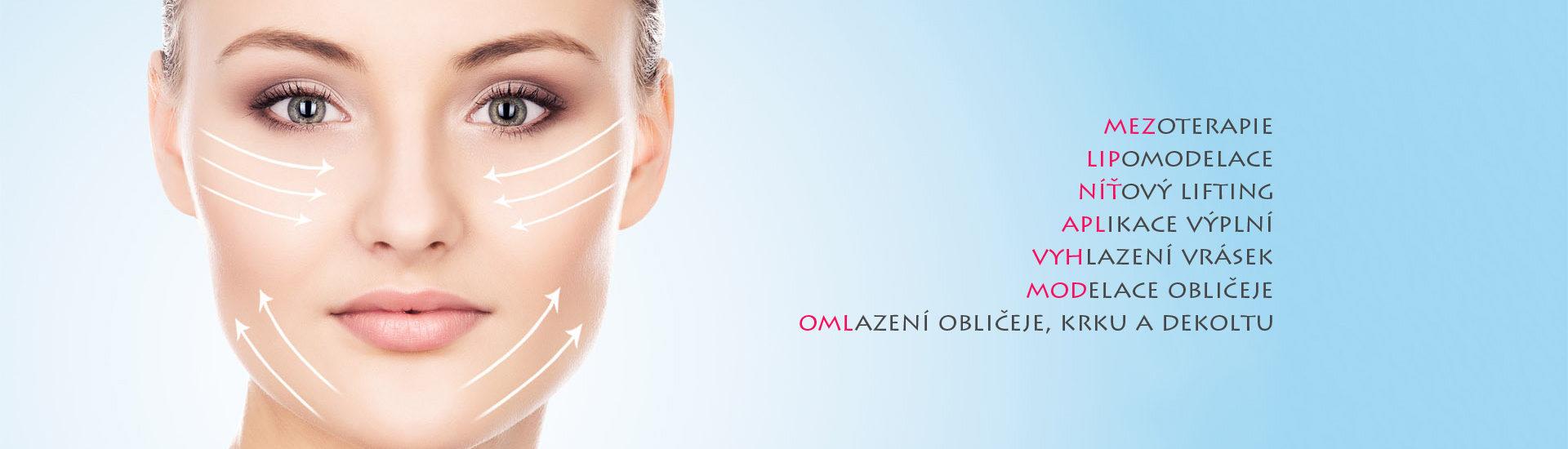 mezoterapie lipomodelace níťový lifting aplikace výplní vyhlazení vrásek modelace obličeje omlazení obličeje krku a dekoltu